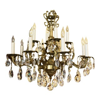 Mid-20th Century Crystal & Bronze 12-Light Chandlier For Sale