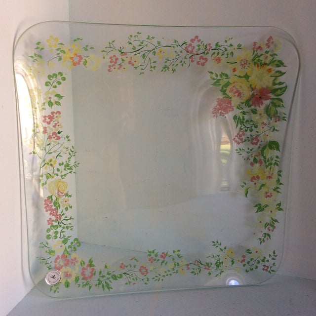 Dorothy Thorpe Glass Dorothy Thorpe California Wild Flower Square Serving Platter For Sale - Image 4 of 13