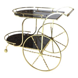 Brass Tortoise Finish Glass Bar Serving Cart on Large Carriage Style Wheels For Sale