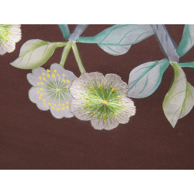 2010s Hand Painted and Embroidered Mural on Paper Backed Silk For Sale - Image 5 of 13