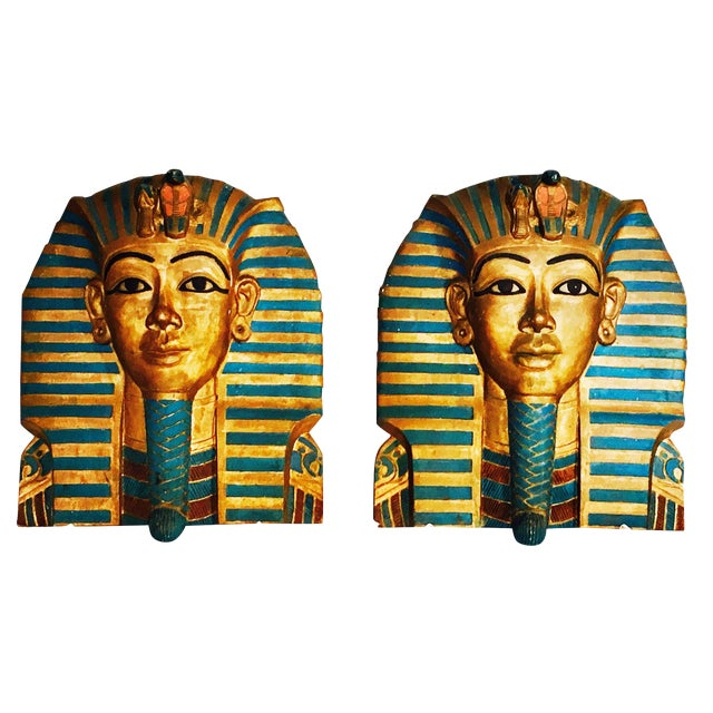 King Tut Plaques on Lucite Stands - A Pair - Image 1 of 6