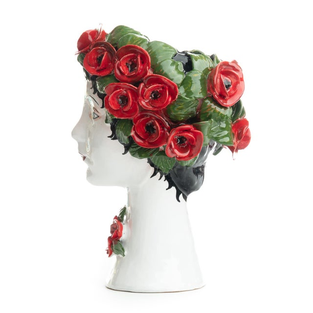 DESCRIPTION This d'arte ceramic sculpture with roses is hand crafted by Ivana Dolfi in Montelupo, Italy. These modern art...