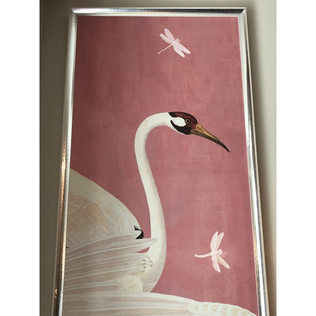 Wood Custom Gucci Pink Heron Crane Wallpaper Mural Panels - a Pair For Sale - Image 7 of 9