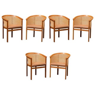 1980s Scandinavian Modern Rud Thygesen and Johnny Sørensen King Series Armchairs - Set of 6 For Sale