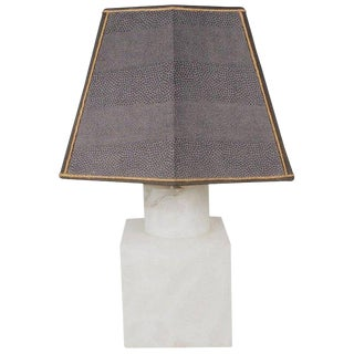 1960s Mid-Century Marble Table Lamp With Custom-Made Shark Skin Shade For Sale