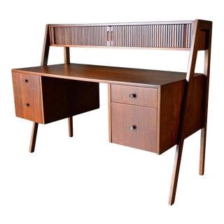 1969 Walnut Floating Top Tambour Door Desk For Sale