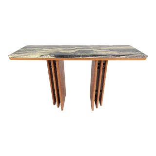 Mid-Century Teak and Marble Console Table by Bendixen Design