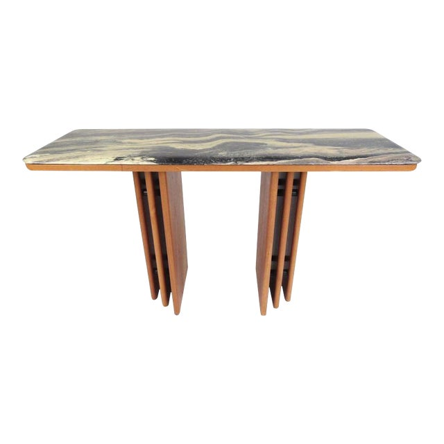 Mid-Century Teak and Marble Console Table by Bendixen Design For Sale