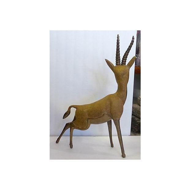 Solid Brass Antelope with Patina - Image 5 of 6