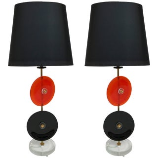 Pair of Lamps Murano Glass Disc, Italy, Contemporary, 2017 For Sale
