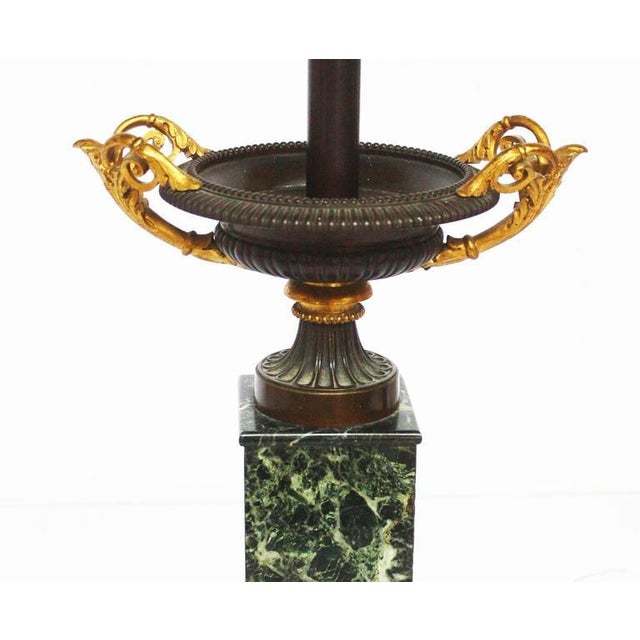Mid 19th Century Pair of Grand Tour Bronze and Marble Tazas as Lamps For Sale - Image 4 of 5