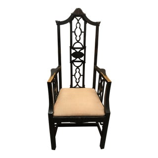 Hollywood Regency High Back Pagoda Fretwork Arm Chair For Sale