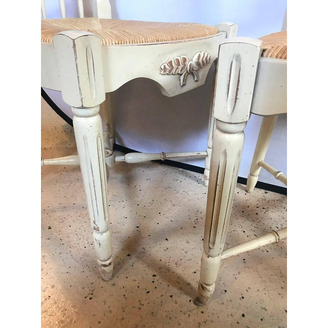 """White Set of Six Distressed White Painted """"Italian"""" Rush Seat Side Chairs For Sale - Image 8 of 13"""