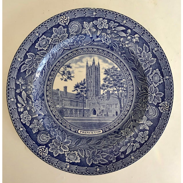 1930 Wedgwood Princeton University Blue and White Dinner Plate Set of 9 For Sale - Image 10 of 12
