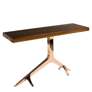 Contemporary Rose Gold Branch Console Table With Brown Top For Sale