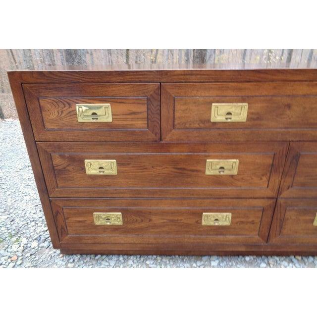 Henredon Vintage Henredon Campaign Oak Dresser Chest of Drawers For Sale - Image 4 of 13