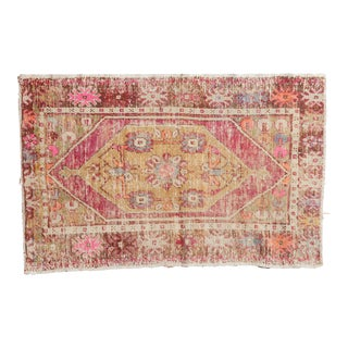 "Vintage Distressed Oushak Rug Runner - 2'7"" X 4'1"""