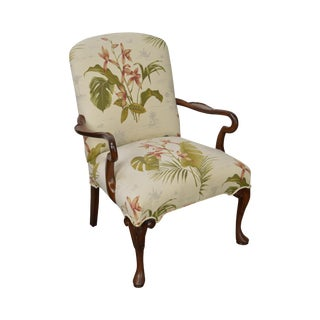 Custom Queen Anne Style Arm Chair w/ Floral Orchid Upholstery