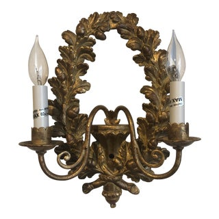 Italian Hand Carved Wall Sconce For Sale