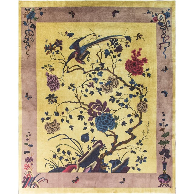 """Antique Chinese Art Deco Rug-8' X 9'8"""" For Sale"""