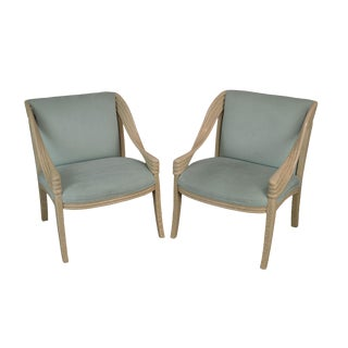 1980's Postmodern Custom Quality Faux Painted Armchairs For Sale