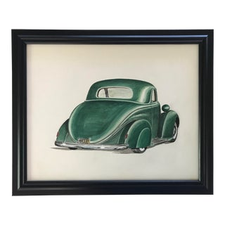 1940s Vintage Mid-Century Green Classic Car Watercolor Painting, Framed For Sale