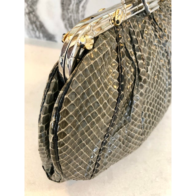 Contemporary Vintage Judith Leiber Grey Python Clutch With Frog Charm Detail For Sale - Image 3 of 11