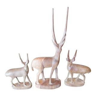 Mid-Century Teak Wood Carved Gazelles - Set of 3