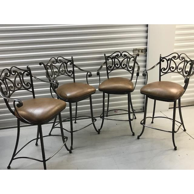 4 Ethan Allen Metal and Leather Counter Height Swivel Barstools