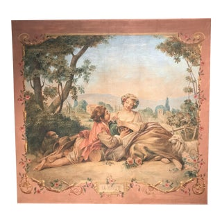 "Large 19th Century French Hand-Painted Canvas on Stretcher Titled ""La Musette"" For Sale"