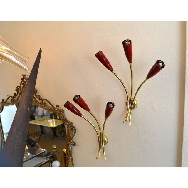 Arredoluce Brass & Red Shades Three-Arm Wall Sconces, Italy - a Pair For Sale - Image 11 of 12