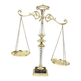 1940s Regency Brass Double Pan Balance Scale For Sale