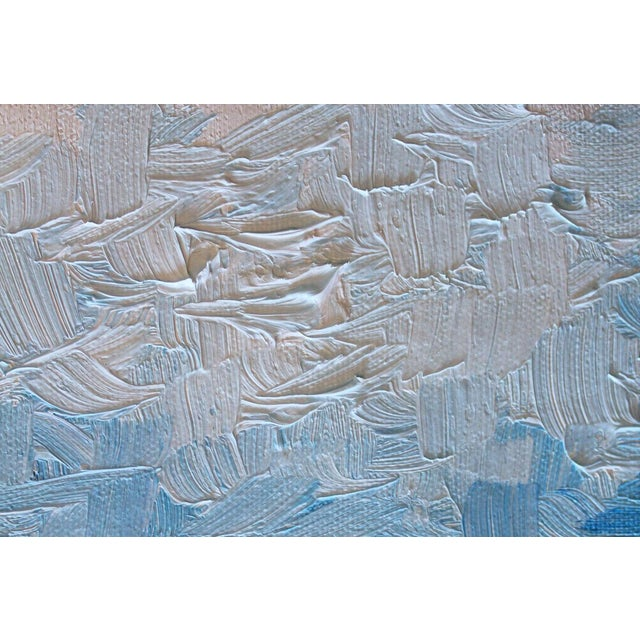 Modern Blue Impasto Textured Oil Painting - Image 3 of 5