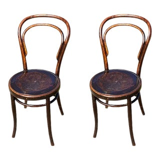Jacob and Josef Kohn or Mazowia Bentwood Shell Motif Side Chairs 1890s - a Pair For Sale