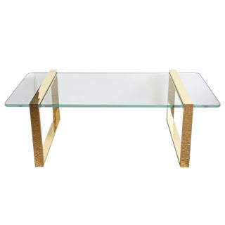1980s Pace 24 Karat Gold Plated and Glass Rectangle Cocktail Table For Sale
