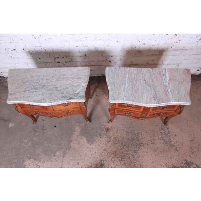 Louis XV Style Inlaid Mahogany Marble Top Nightstands or Commodes, Pair For Sale - Image 4 of 13