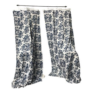 Ralph Lauren Nanking Pattern Blue and White Curtains Drapes - a Pair For Sale