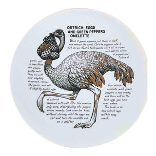 1960s Fornasetti Ostrich Eggs Omelette Improbable Recipe Plate for Fleming Joffe Leather Co. For Sale