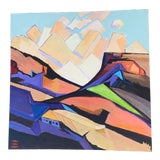 """Image of 2009 Abstract Acrylic Painting """"Living in Hills"""" 24""""x24"""" For Sale"""