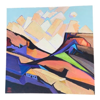 "2009 Abstract Acrylic Painting ""Living in Hills"" 24""x24"" For Sale"