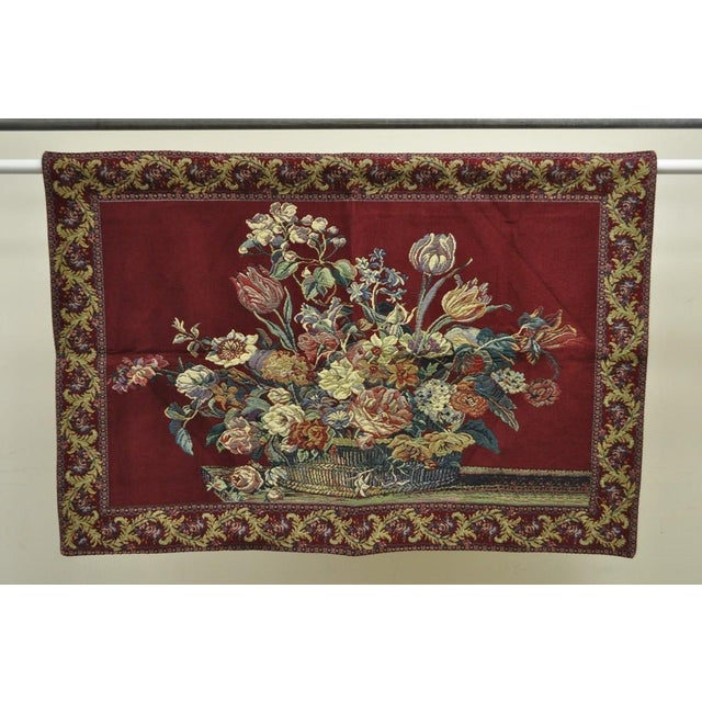 """Textile 51"""" X 36"""" French Wall Hanging Tapestry Jacquard Acanthus Floral Still Life Red For Sale - Image 7 of 8"""