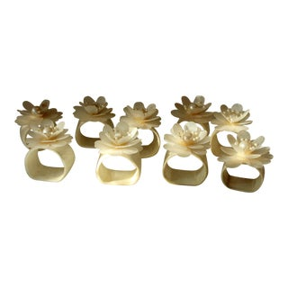 Vintage Mother of Pearl Napkin Rings - Set of 9 For Sale