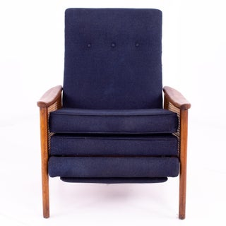 Mid Century Milo Baughman Walnut and Caned Reclining Lounge Chair Preview