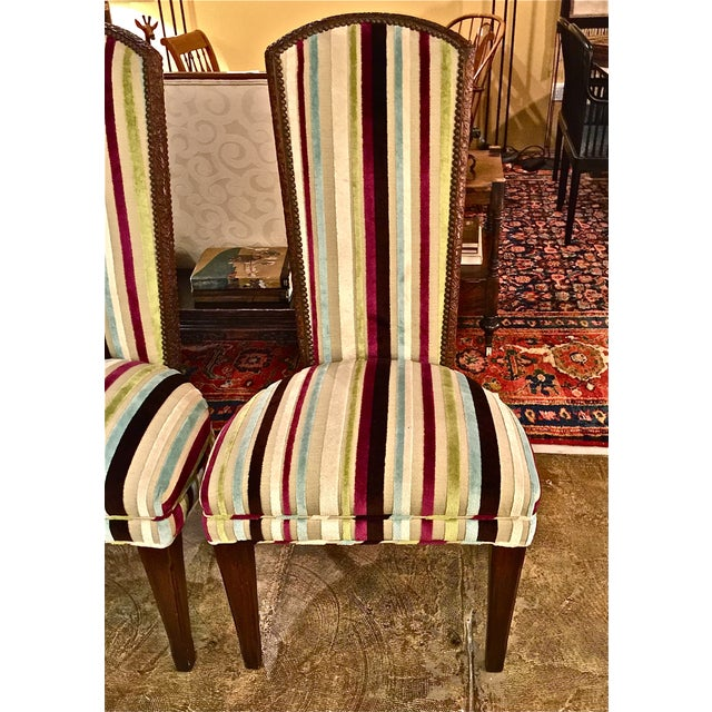 Mid-century Modern High Back Side Chairs - Pair - Image 3 of 7