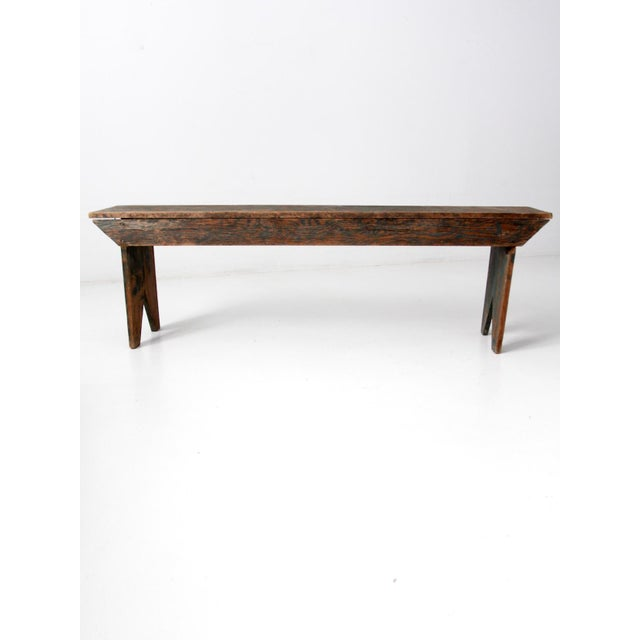 Antique Wooden Bench For Sale - Image 11 of 11
