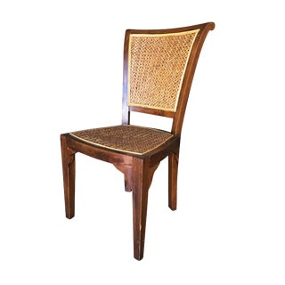 Mid-Century Mahogany High Style Dining Chair W/ Woven Wicker Seat For Sale