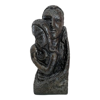 Vintage Plaster Sculpture of a Family For Sale