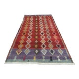 Image of Vintage Turkish Tribal Oushak Kilim Rug- 5′4″ × 9′3″ For Sale