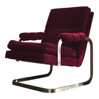 Carsons Vintage Mid-Century Brass Frame Lounge Chair For Sale
