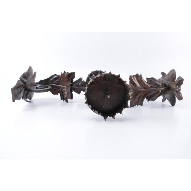 Gothic Metal Floral Decorative Wall Mounted Candle Sconces For Sale - Image 3 of 8